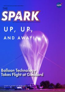 Cover of Winter Spring 2021 edition of The Spark, showing a scientific balloon