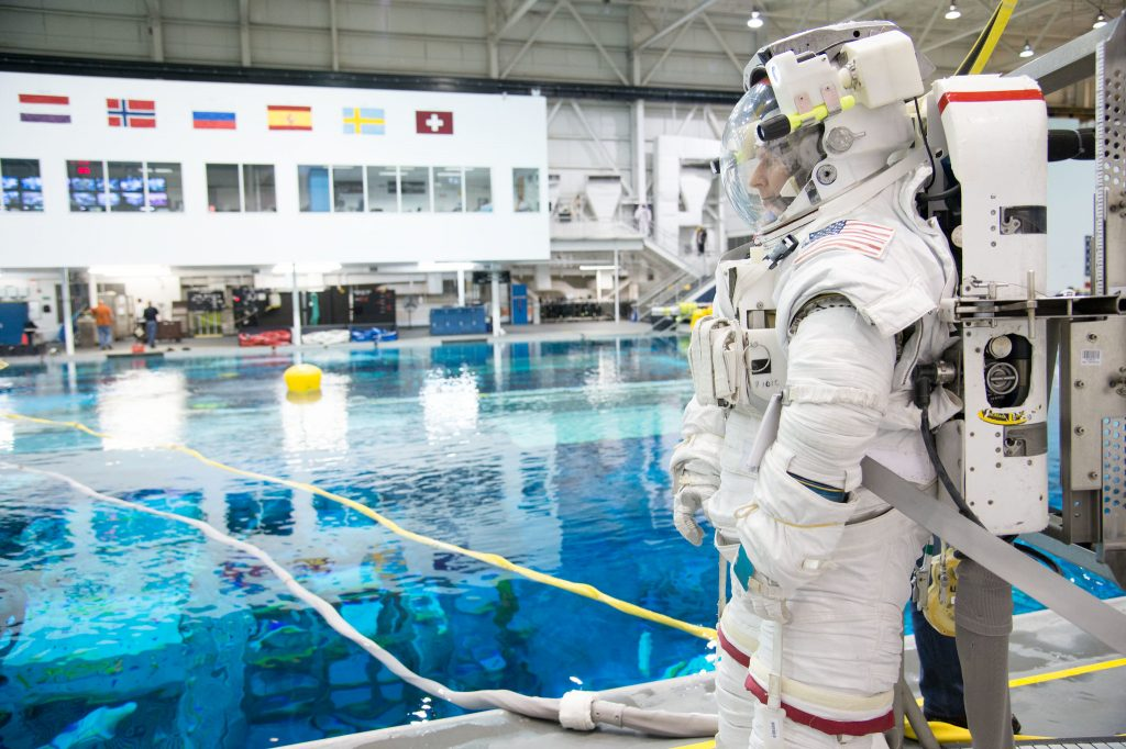 ESA astronaut Timothy Peake, awaits the start of a spacewalk training session