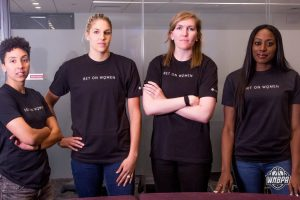 NASA's partnership with the WNBPA will create opportunities for members to explore technology licensing. The WNBPA Executive Committee includes (from left to right) Layshia Clarendon, Elena Delle Donne, Carolyn Swords and Chiney Ogwumike. Credits: WNBPA/Isaac Thesatus/Redhouse Visuals
